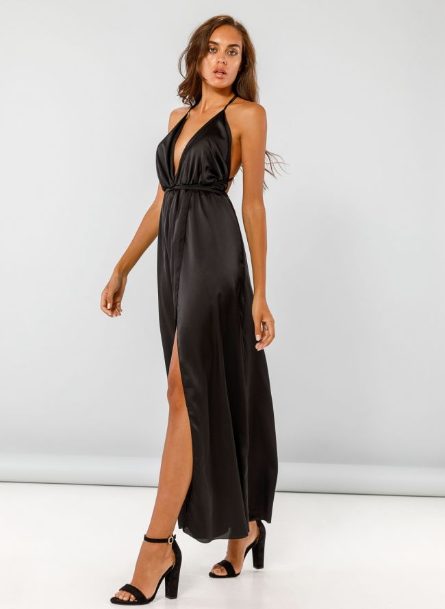 Maxi σατέν φόρεμα με δέσιμο - Μαύρο