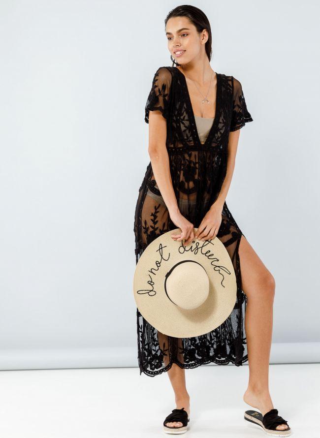Maxi see-through crochet φόρεμα  - Μαύρο
