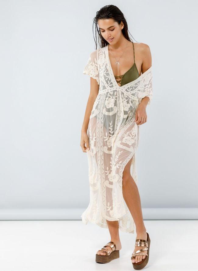 Maxi see-through crochet φόρεμα  - Μπεζ