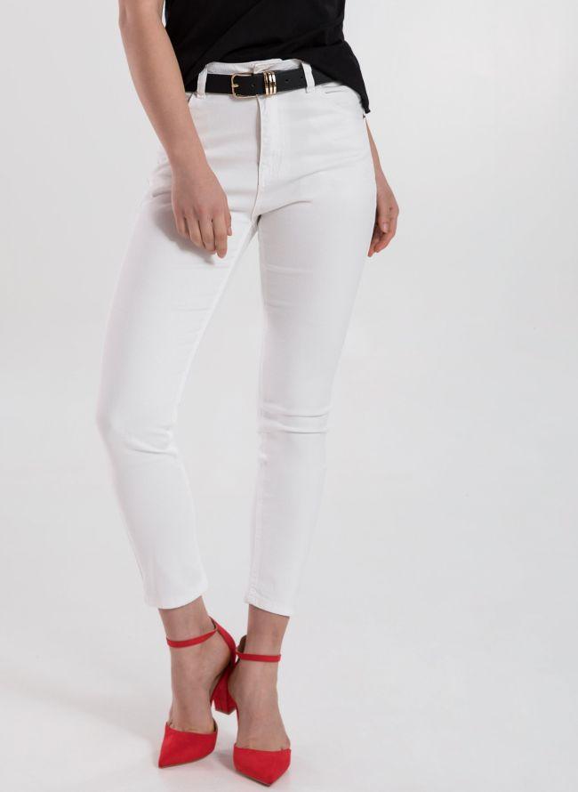 Mid-waist denim σε χρώματα - Λευκό