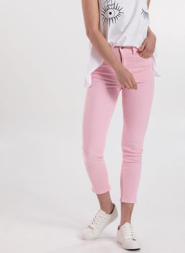 Mid-waist denim σε χρώματα - Ροζ