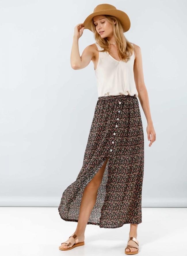 e73a2e101195 Midi floral φούστα με κουμπιά - Μαύρο