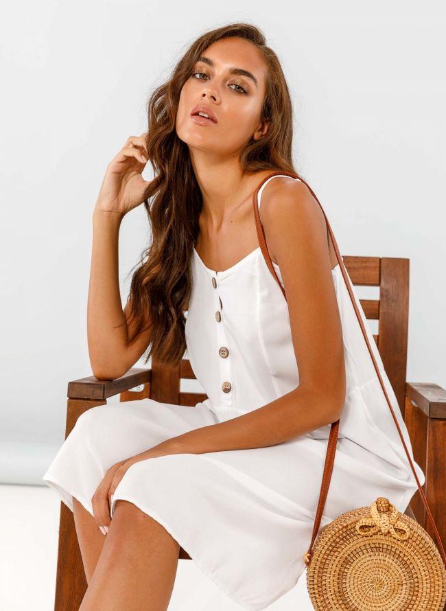Midi φόρεμα με κουμπάκια - Λευκό