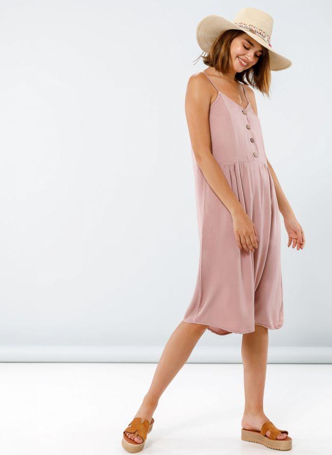 Midi φόρεμα με κουμπάκια - Nude