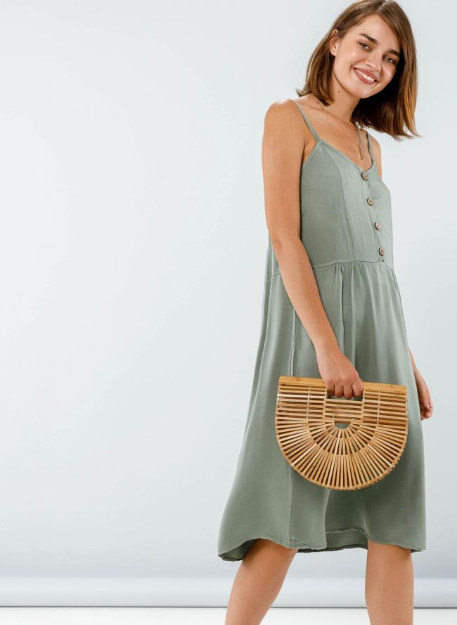Midi φόρεμα με κουμπάκια - Χακί