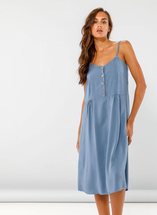 Midi φόρεμα με κουμπάκια - Μπλε jean