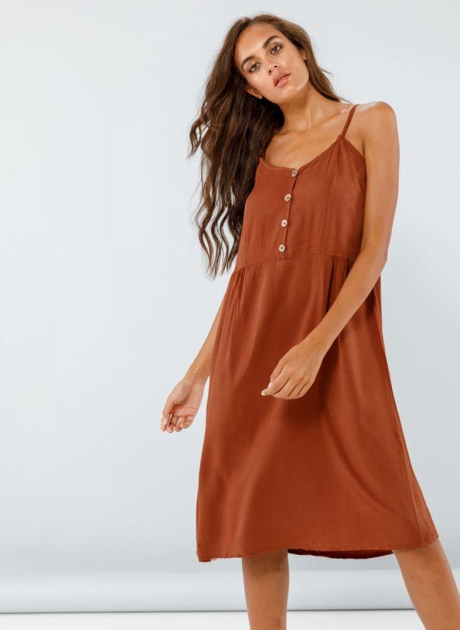 Midi φόρεμα με κουμπάκια - Καφέ