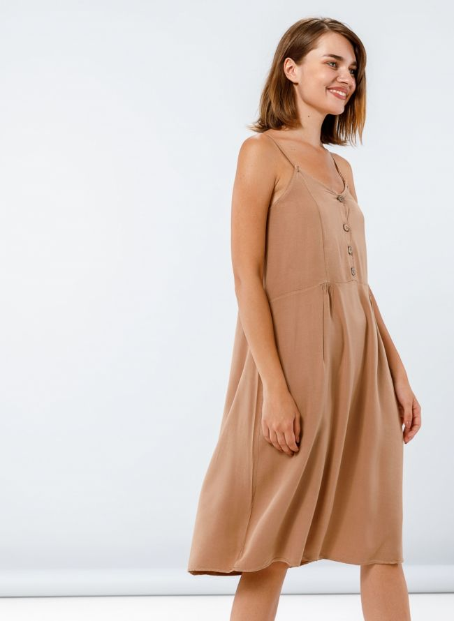 Midi φόρεμα με κουμπάκια - Mocha