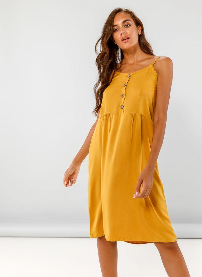 Midi φόρεμα με κουμπάκια - Μουσταρδί