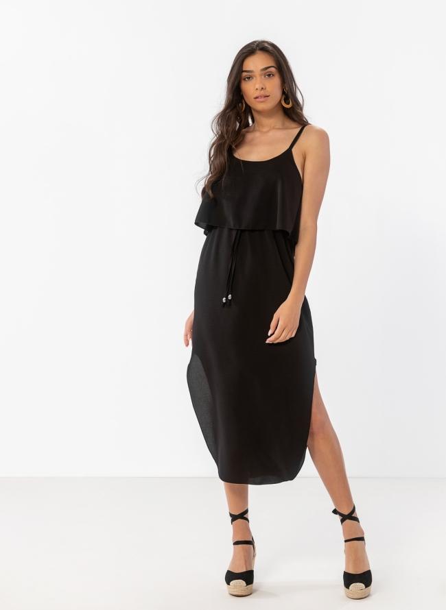 06eea3e0eef6 Midi φόρεμα με βολάν στο μπούστο - Μαύρο