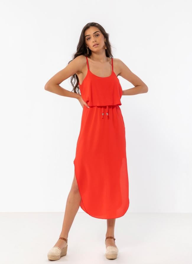 f166447e90a4 Midi φόρεμα με βολάν στο μπούστο - Κόκκινο