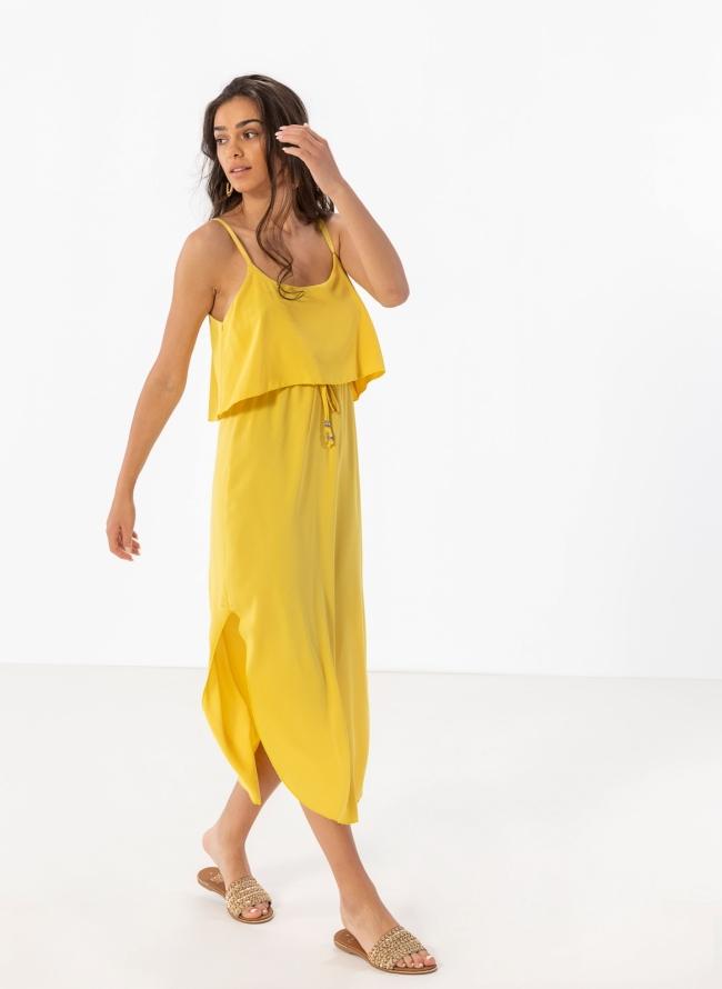 0eef346c5907 Midi φόρεμα με βολάν στο μπούστο - Κίτρινο