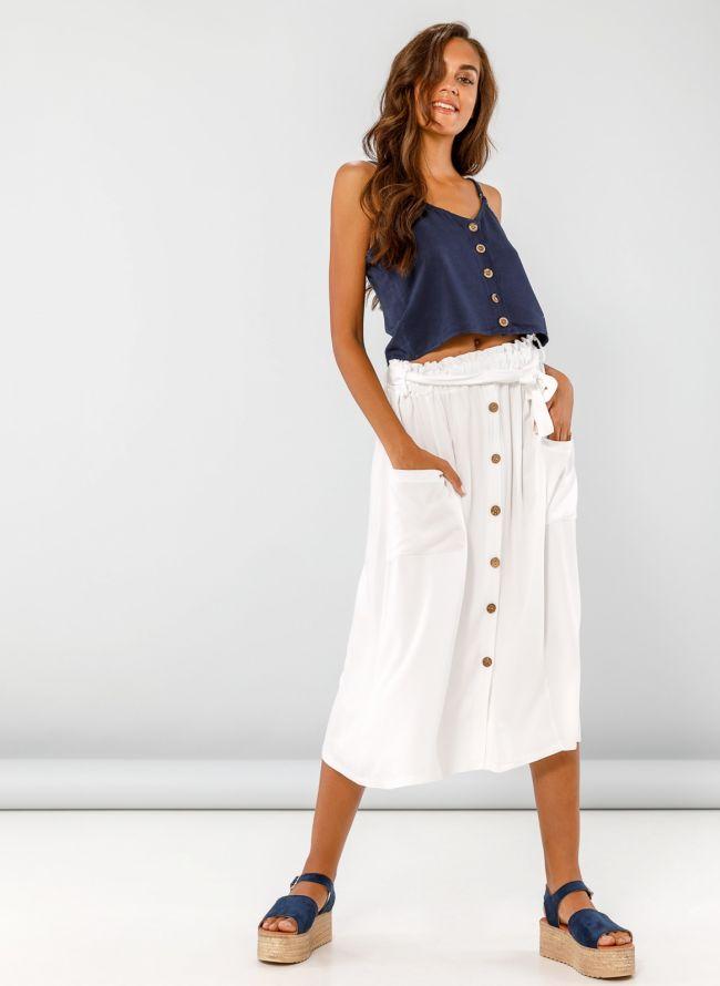 Midi φούστα με τσέπες και ξύλινα κουμπάκια - Λευκό