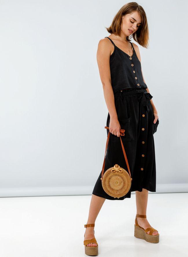 Midi φούστα με τσέπες και ξύλινα κουμπάκια - Μαύρο