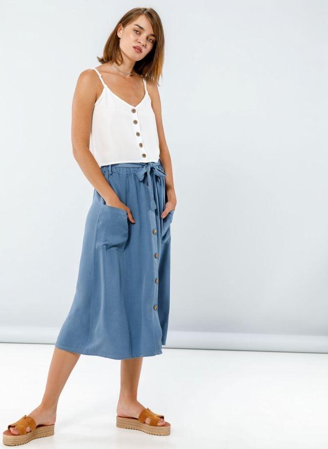 Midi φούστα με τσέπες και ξύλινα κουμπάκια - Μπλε jean