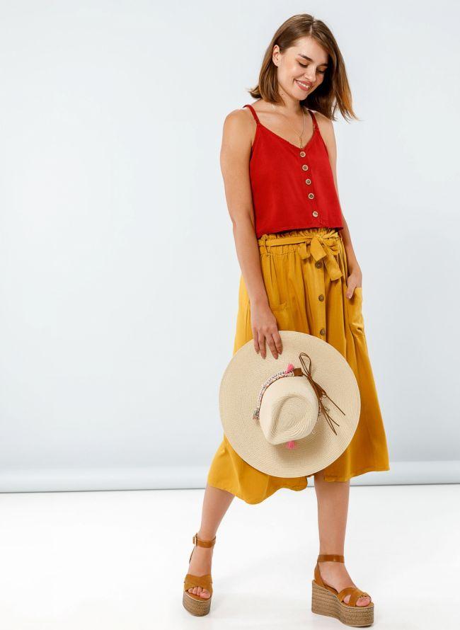 Midi φούστα με τσέπες και ξύλινα κουμπάκια - Μουσταρδί