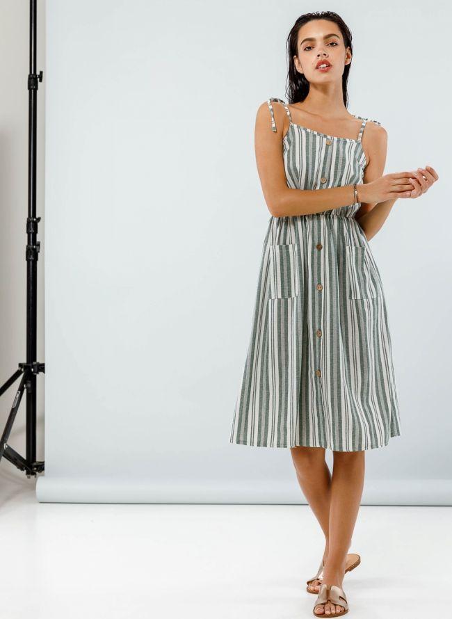 Midi ριγέ φόρεμα με κουμπιά - Χακί