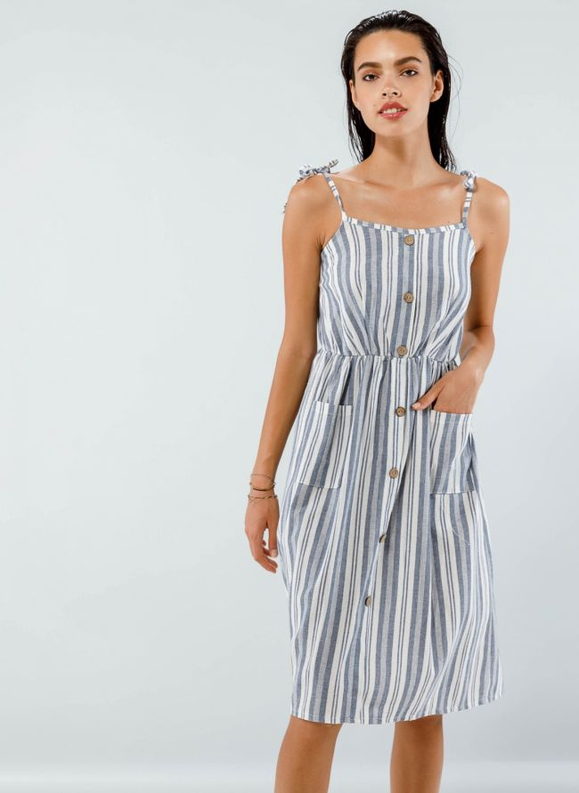 Midi ριγέ φόρεμα με κουμπιά - Μπλε jean