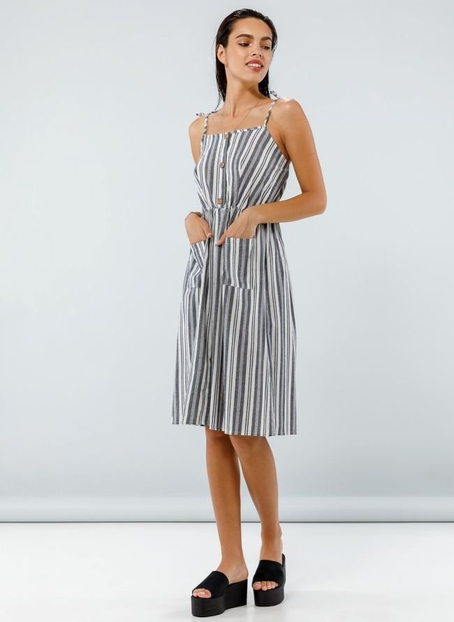 Midi ριγέ φόρεμα με κουμπιά - Ανθρακί