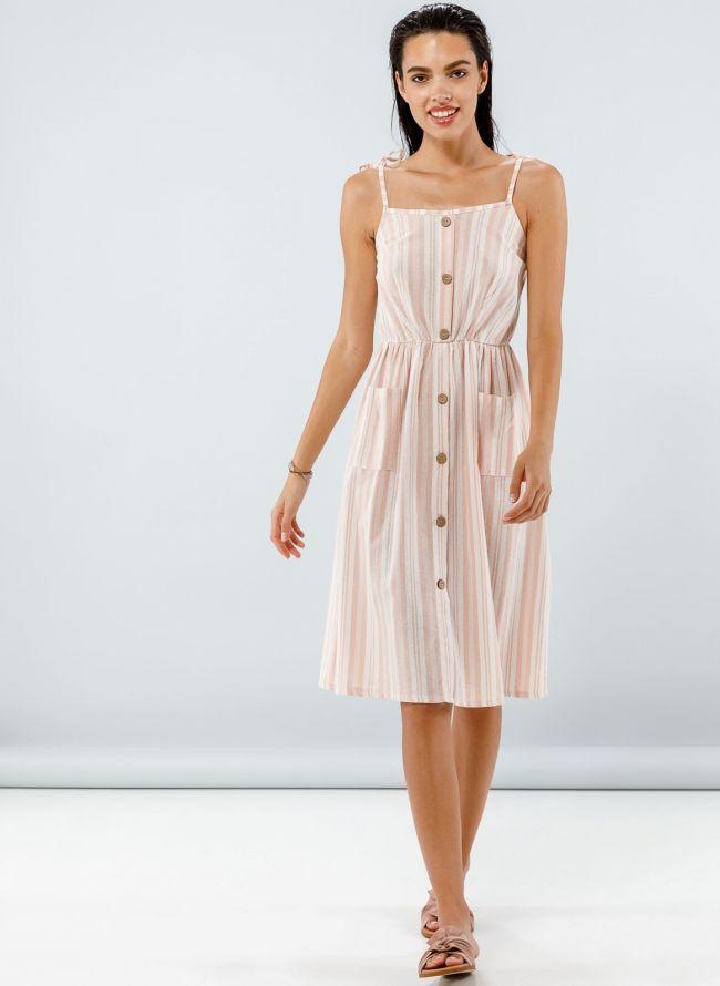 Midi ριγέ φόρεμα με κουμπιά - Σομόν
