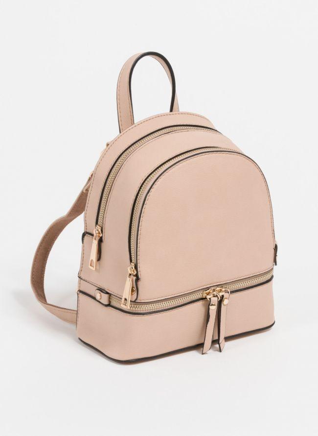 Mini backpack που μπορεί να κρατηθεί και χιαστί  - Πούδρα