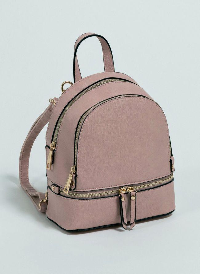 Mini backpack που μπορεί να κρατηθεί και χιαστί  - Σομόν