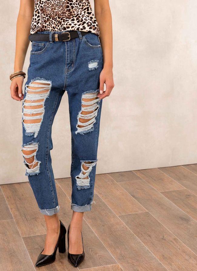 Mom fit jeans με μεγάλα ανοίγματα - Μπλε jean