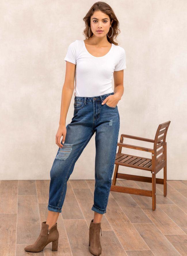 Mom fit jeans με σκισίματα - Μπλε jean