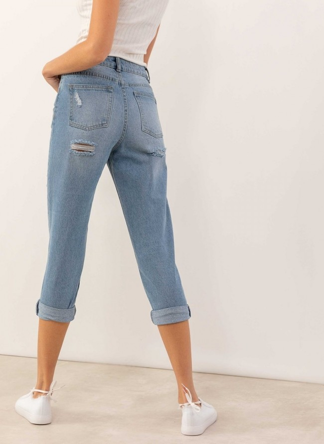 40c3a5ce0385 Mom fit παντελόνι σε ίσια γραμμή με σκισίματα στο πίσω μέρος - Μπλε jean