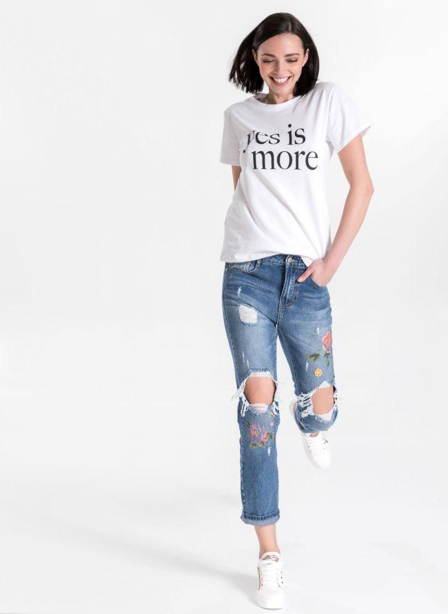 Mom's fit jeans με στάμπα - Μπλε jean