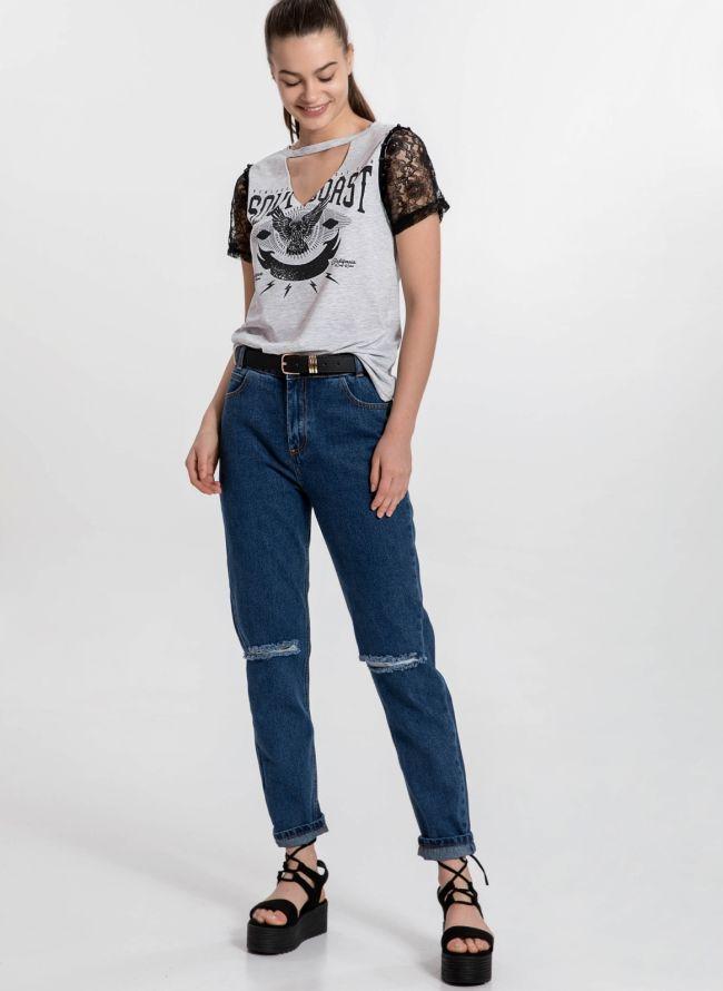 Moms fit jeans με σκισίματα - Μπλε jean
