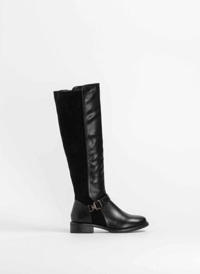 Μπότες ιππασίας σε συνδυασμό υλικών - Μαύρο