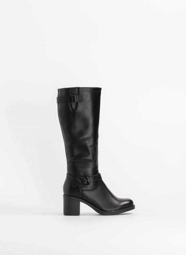 e6a2c22fba Μπότες με τετράγωνο τακούνι - Μαύρο