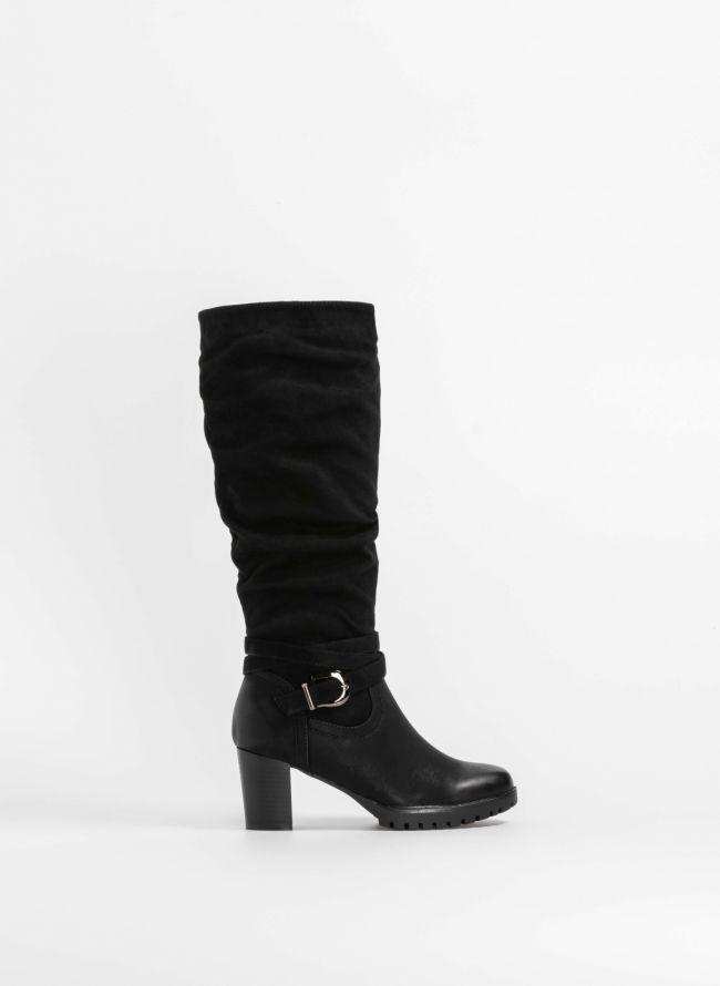 Μπότες με ζωνάκι στον αστράγαλο - Μαύρο
