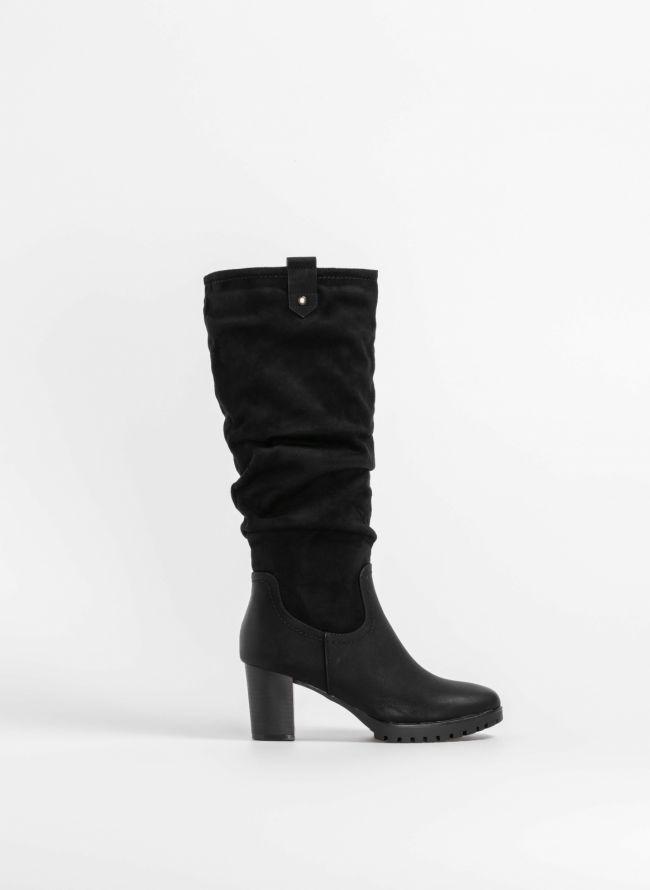 Μπότες με σούρα σε συνδυασμό υλικών - Μαύρο