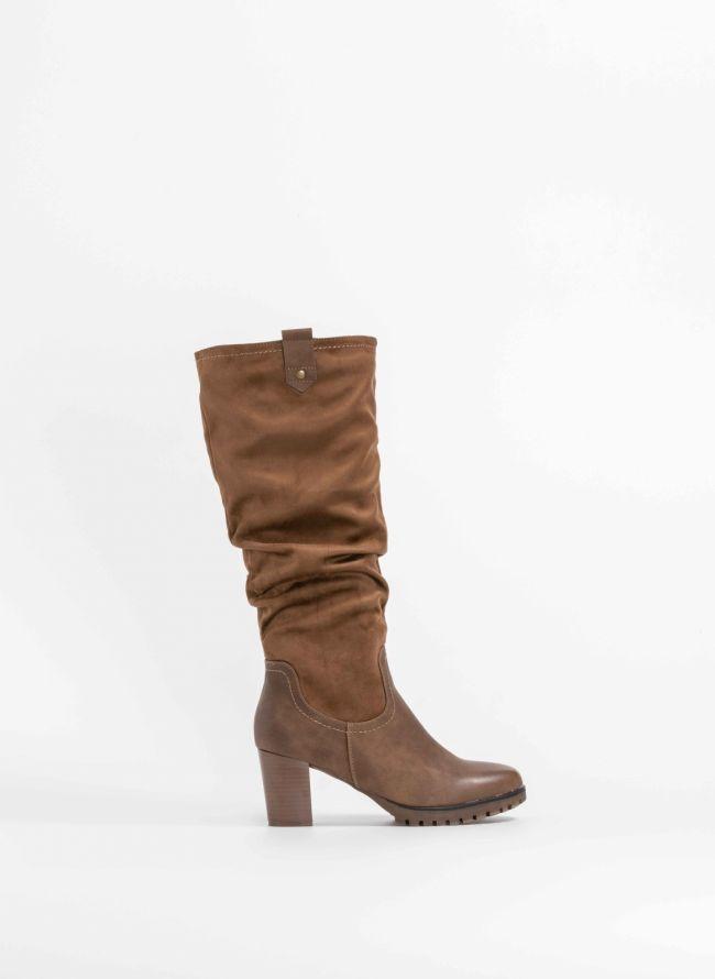 Μπότες με σούρα σε συνδυασμό υλικών - Πούρο