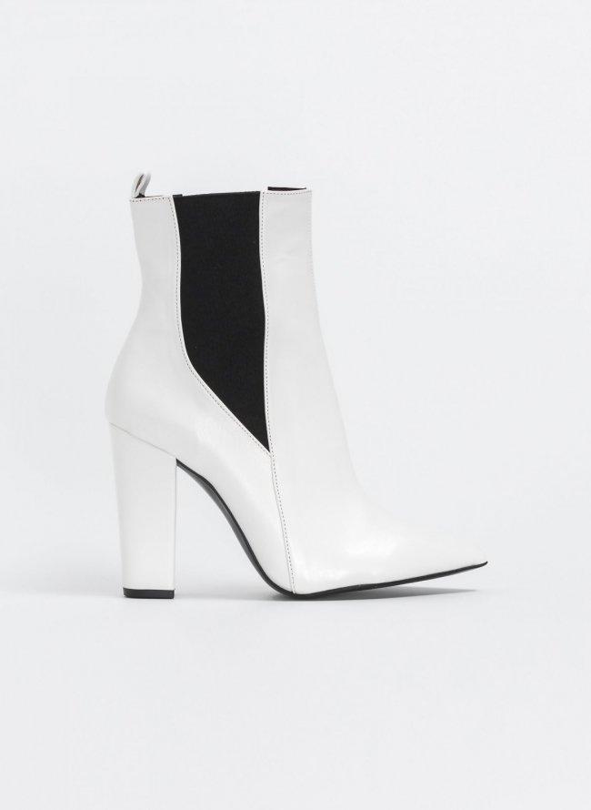 4b61b76c201 Μυτερά block heel μποτάκια - Λευκό