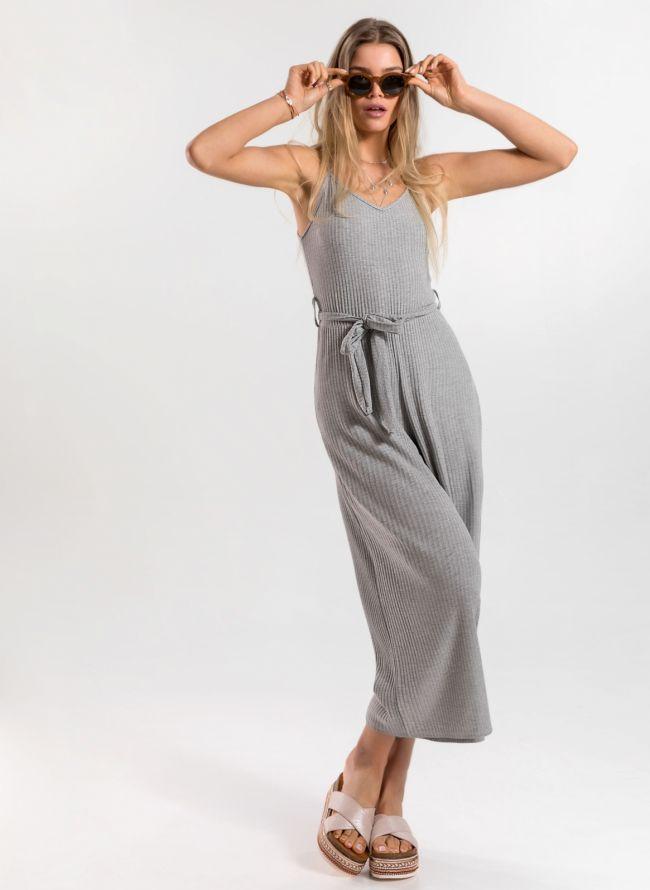 Ολόσωμη  cropped φόρμα με ραντάκι - Γκρι