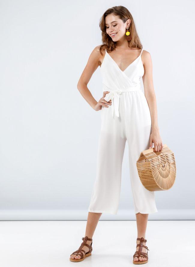 Ολόσωμη cropped κρουαζέ φόρμα - Λευκό
