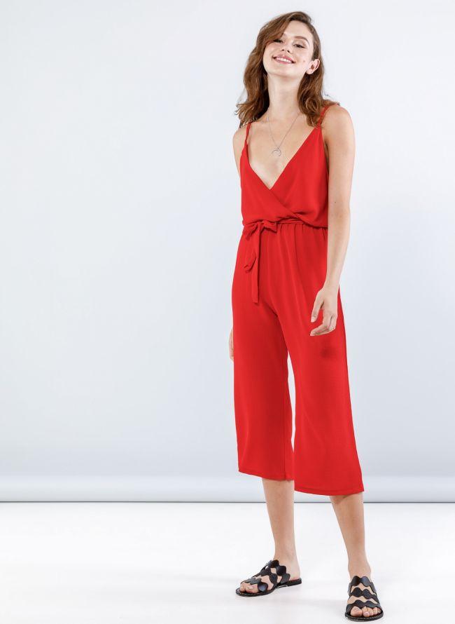 Ολόσωμη cropped κρουαζέ φόρμα - Κόκκινο