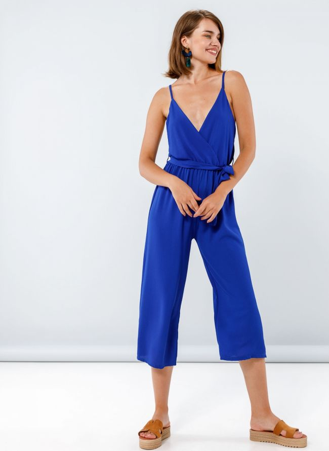 Ολόσωμη cropped κρουαζέ φόρμα - Μπλε