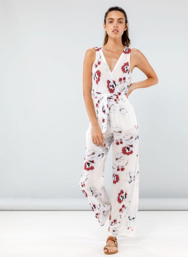Ολόσωμη floral κρουαζέ φόρμα - Λευκό