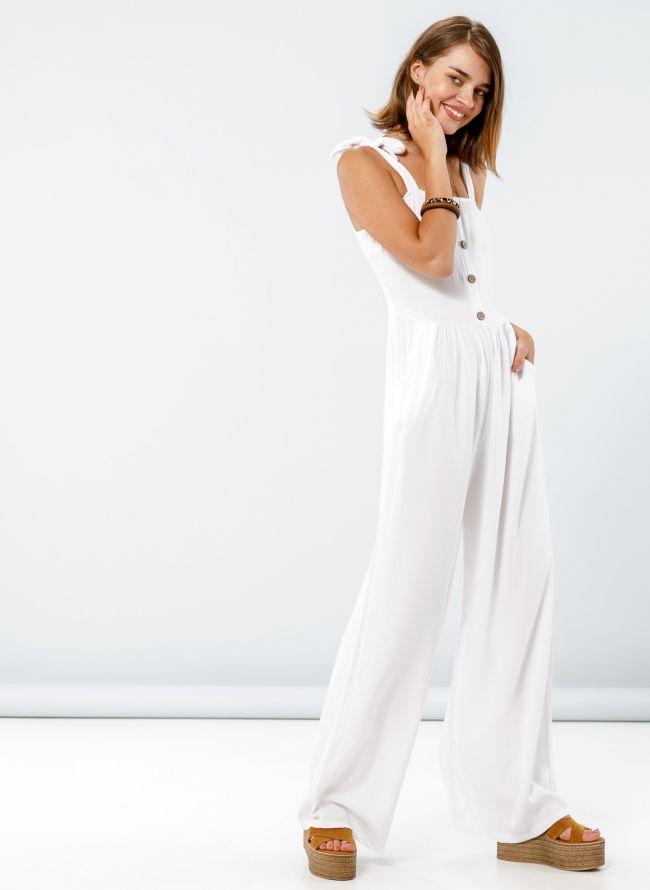 Ολόσωμη φόρμα με δετούς ώμους - Λευκό