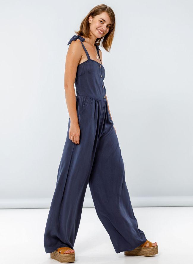 Ολόσωμη φόρμα με δετούς ώμους - Μπλε jean