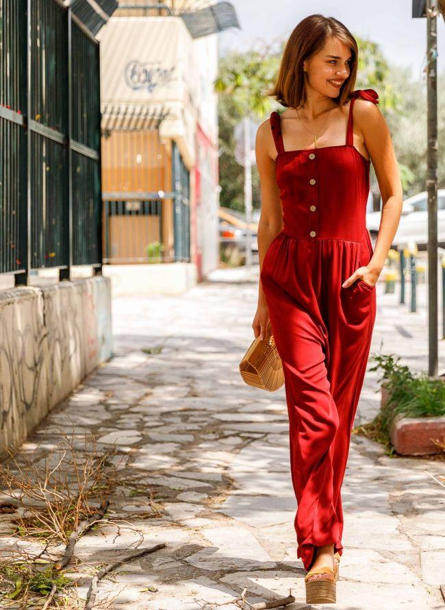 Ολόσωμη φόρμα με δετούς ώμους - Μπορντό