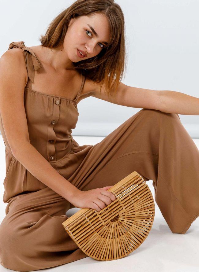 Ολόσωμη φόρμα με δετούς ώμους - Καφέ