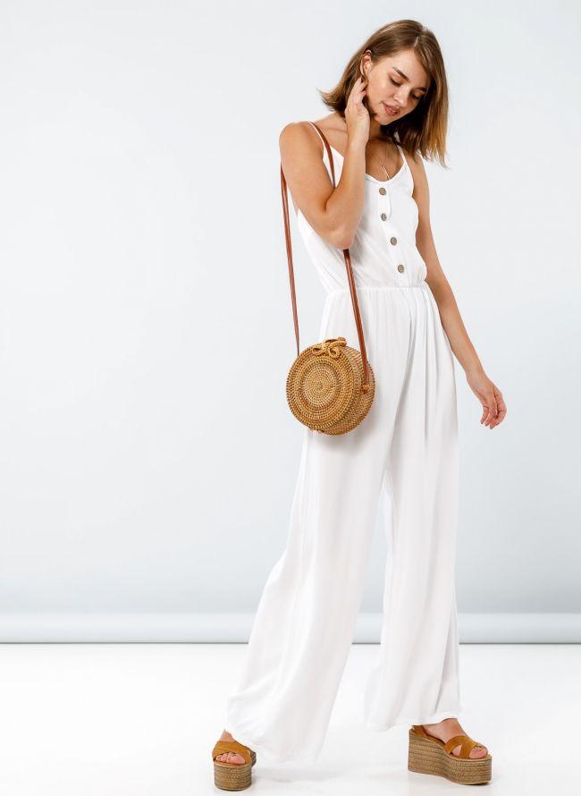 Ολόσωμη φόρμα με λεπτό ραντάκι - Λευκό