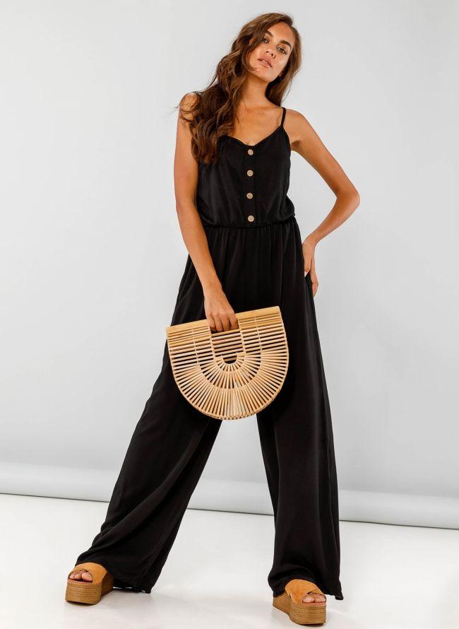 Ολόσωμη φόρμα με λεπτό ραντάκι - Μαύρο