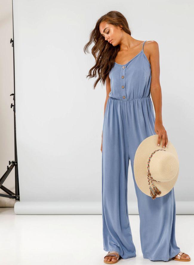 Ολόσωμη φόρμα με λεπτό ραντάκι - Μπλε jean