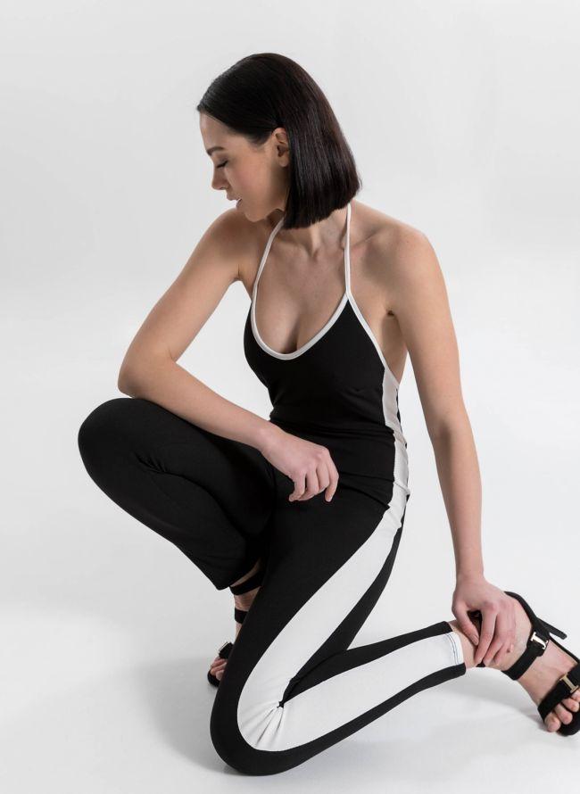 Ολόσωμη φόρμα με ρίγα - Μαύρο